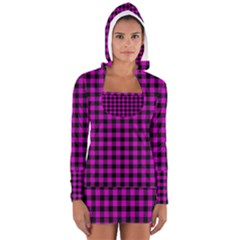 Lumberjack Fabric Pattern Pink Black Women s Long Sleeve Hooded T-shirt by EDDArt