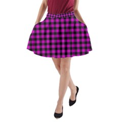 Lumberjack Fabric Pattern Pink Black A Line Pocket Skirt by EDDArt