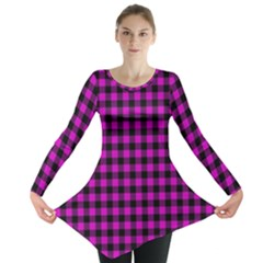Lumberjack Fabric Pattern Pink Black Long Sleeve Tunic  by EDDArt