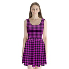 Lumberjack Fabric Pattern Pink Black Split Back Mini Dress