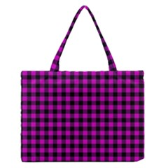 Lumberjack Fabric Pattern Pink Black Medium Zipper Tote Bag by EDDArt