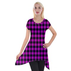 Lumberjack Fabric Pattern Pink Black Short Sleeve Side Drop Tunic