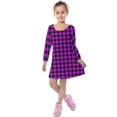 Lumberjack Fabric Pattern Pink Black Kids  Long Sleeve Velvet Dress