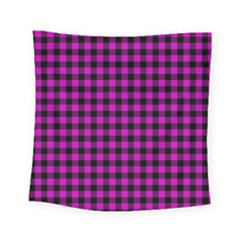 Lumberjack Fabric Pattern Pink Black Square Tapestry (small)