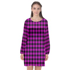 Lumberjack Fabric Pattern Pink Black Long Sleeve Chiffon Shift Dress