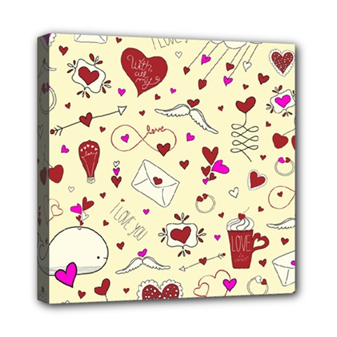 Valentinstag Love Hearts Pattern Red Yellow Mini Canvas 8  X 8  by EDDArt