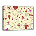 Valentinstag Love Hearts Pattern Red Yellow Canvas 16  x 12  View1