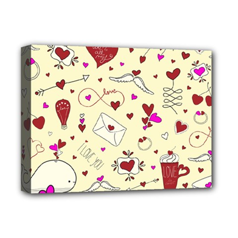 Valentinstag Love Hearts Pattern Red Yellow Deluxe Canvas 16  X 12