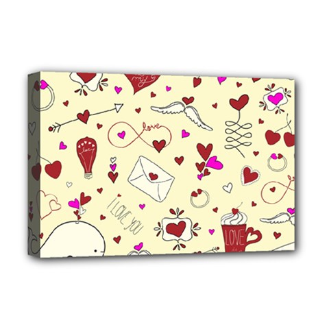 Valentinstag Love Hearts Pattern Red Yellow Deluxe Canvas 18  X 12   by EDDArt