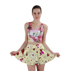Valentinstag Love Hearts Pattern Red Yellow Mini Skirt by EDDArt