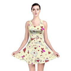 Valentinstag Love Hearts Pattern Red Yellow Reversible Skater Dress by EDDArt