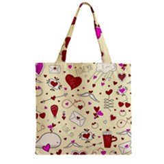 Valentinstag Love Hearts Pattern Red Yellow Zipper Grocery Tote Bag by EDDArt