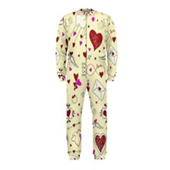 Valentinstag Love Hearts Pattern Red Yellow Onepiece Jumpsuit (kids) by EDDArt