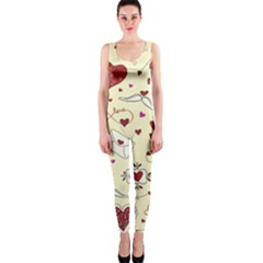 Valentinstag Love Hearts Pattern Red Yellow Onepiece Catsuit by EDDArt