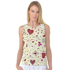 Valentinstag Love Hearts Pattern Red Yellow Women s Basketball Tank Top