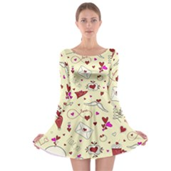 Valentinstag Love Hearts Pattern Red Yellow Long Sleeve Skater Dress