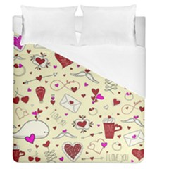 Valentinstag Love Hearts Pattern Red Yellow Duvet Cover (queen Size) by EDDArt