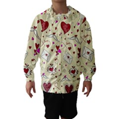 Valentinstag Love Hearts Pattern Red Yellow Hooded Wind Breaker (kids)