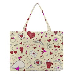 Valentinstag Love Hearts Pattern Red Yellow Medium Tote Bag by EDDArt