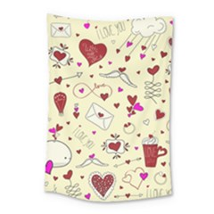 Valentinstag Love Hearts Pattern Red Yellow Small Tapestry by EDDArt