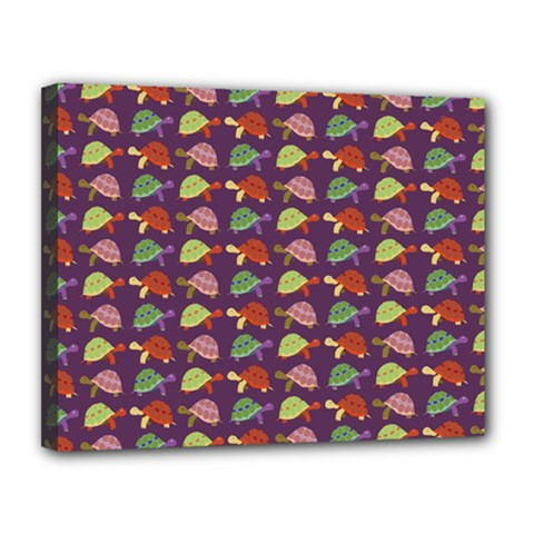 Turtle Pattern Canvas 14  X 11  by Valentinaart