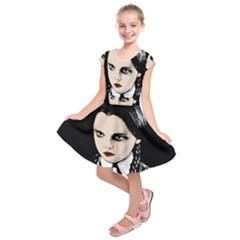 Wednesday Addams Kids  Short Sleeve Dress by Valentinaart