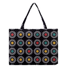 White Daisies Pattern Medium Tote Bag by linceazul
