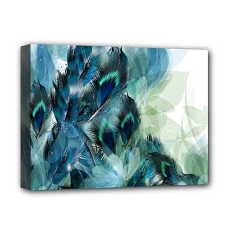 Flowers And Feathers Background Design Deluxe Canvas 16  X 12   by TastefulDesigns