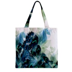 Flowers And Feathers Background Design Grocery Tote Bag by TastefulDesigns