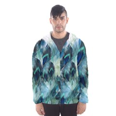 Flowers And Feathers Background Design Hooded Wind Breaker (men) by TastefulDesigns