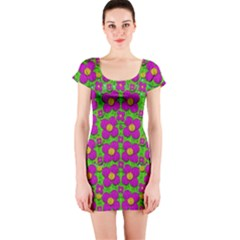 Bohemian Big Flower Of The Power In Rainbows Short Sleeve Bodycon Dress by pepitasart
