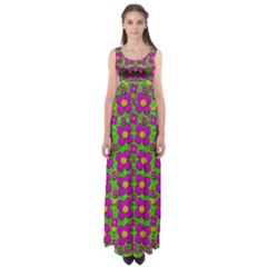 Bohemian Big Flower Of The Power In Rainbows Empire Waist Maxi Dress by pepitasart