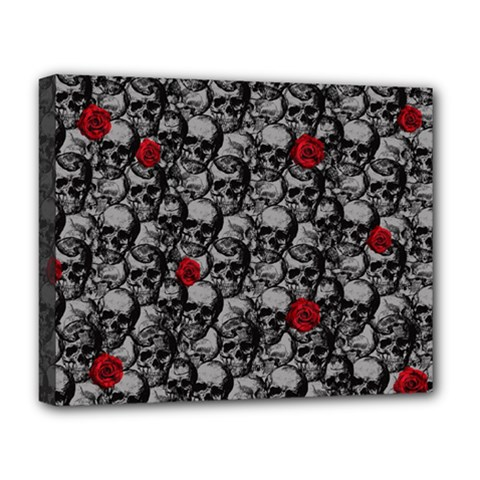 Skulls And Roses Pattern  Deluxe Canvas 20  X 16