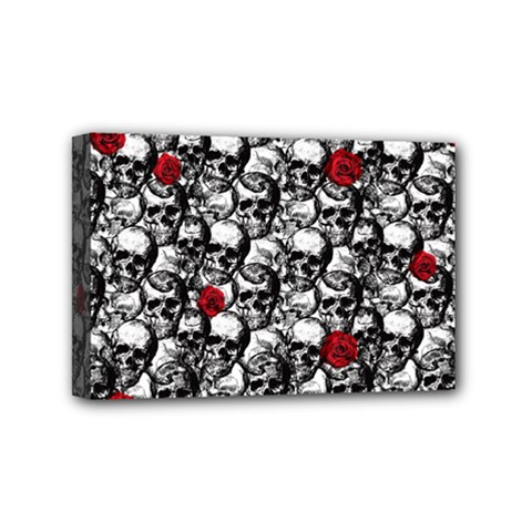 Skulls And Roses Pattern  Mini Canvas 6  X 4  by Valentinaart