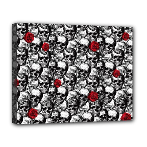 Skulls And Roses Pattern  Deluxe Canvas 20  X 16   by Valentinaart