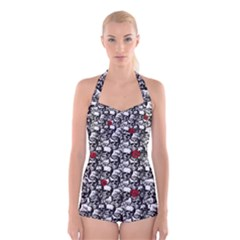 Skulls And Roses Pattern  Boyleg Halter Swimsuit