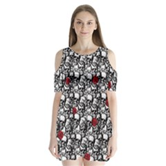 Skulls And Roses Pattern  Shoulder Cutout Velvet  One Piece