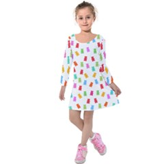 Candy Pattern Kids  Long Sleeve Velvet Dress by Valentinaart