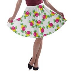 Candy Pattern A-line Skater Skirt by Valentinaart