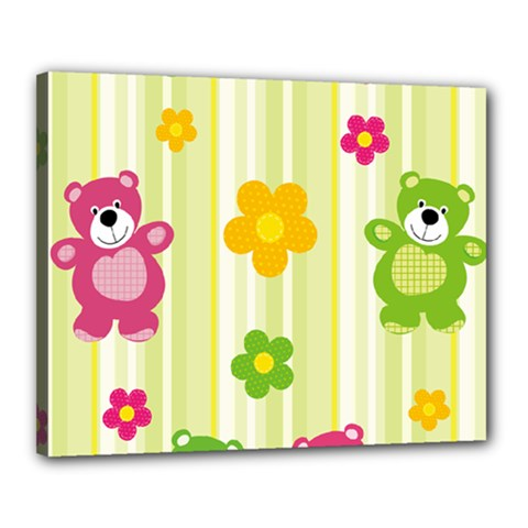 Animals Bear Flower Floral Line Red Green Pink Yellow Sunflower Star Canvas 20  X 16  by Mariart