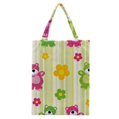 Animals Bear Flower Floral Line Red Green Pink Yellow Sunflower Star Classic Tote Bag by Mariart
