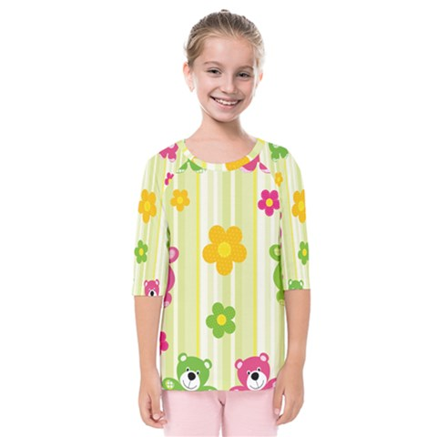 Animals Bear Flower Floral Line Red Green Pink Yellow Sunflower Star Kids  Quarter Sleeve Raglan Tee by Mariart