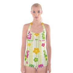 Animals Bear Flower Floral Line Red Green Pink Yellow Sunflower Star Boyleg Halter Swimsuit  by Mariart