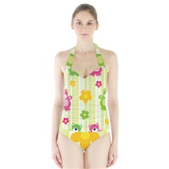 Animals Bear Flower Floral Line Red Green Pink Yellow Sunflower Star Halter Swimsuit by Mariart