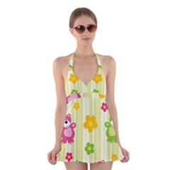 Animals Bear Flower Floral Line Red Green Pink Yellow Sunflower Star Halter Swimsuit Dress by Mariart