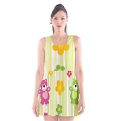 Animals Bear Flower Floral Line Red Green Pink Yellow Sunflower Star Scoop Neck Skater Dress