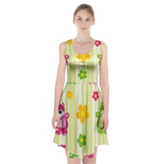 Animals Bear Flower Floral Line Red Green Pink Yellow Sunflower Star Racerback Midi Dress by Mariart