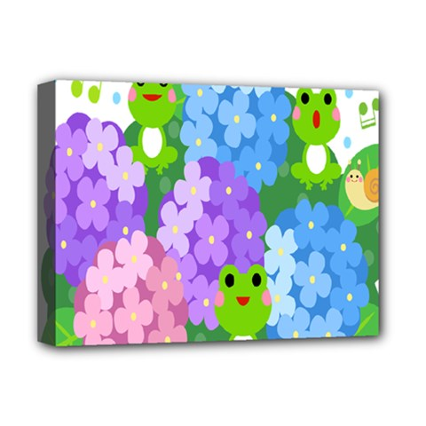 Animals Frog Face Mask Green Flower Floral Star Leaf Music Deluxe Canvas 16  X 12   by Mariart