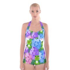 Animals Frog Face Mask Green Flower Floral Star Leaf Music Boyleg Halter Swimsuit  by Mariart