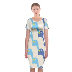 Animals Penguin Ice Blue White Cool Bird Classic Short Sleeve Midi Dress by Mariart